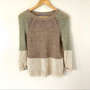 360 Sweater Color Blocked Sweater Linen Knit